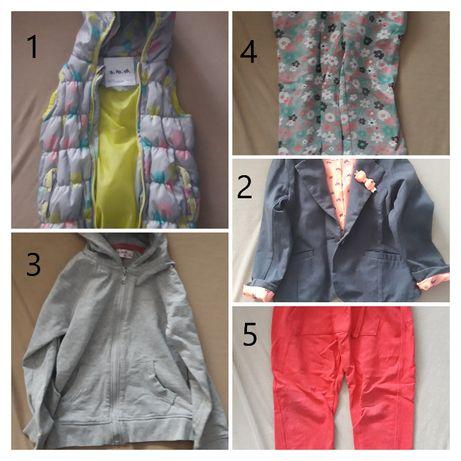 Zestaw dla dziewczynki r.104 do r.116 bluzki, spodnie, sukienki,