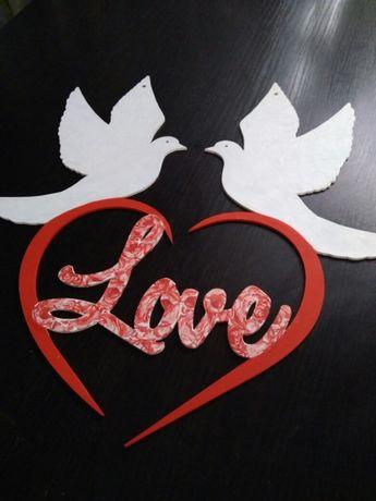 Ozdoba na ścianę za Parą Młodą, wesele, Love