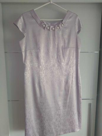 Komplet liliowy sukienka plus żakiet
