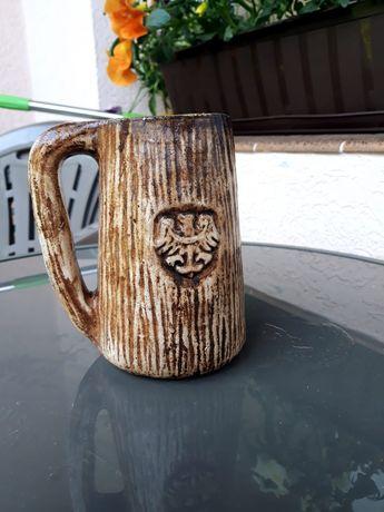 Ceramiczny kufel w stylu staropolskim