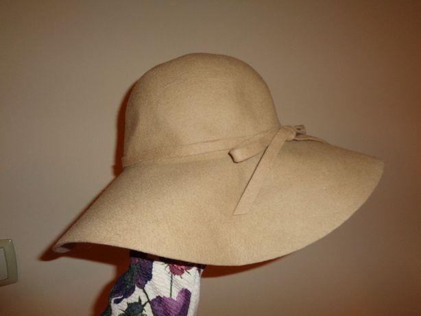 DUNNES nowy śliczny elegancki wełniany kapelusz 100% wool / lana CAMEL