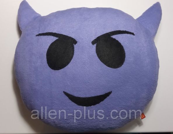 Мягкая игрушка-подушка ручной работы Смайлик с рожками