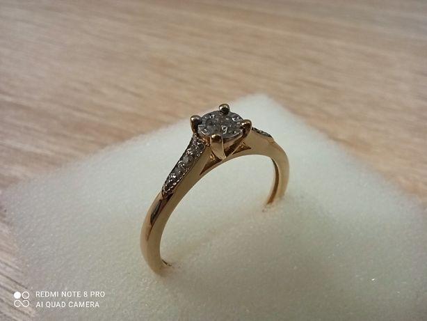 Złoty pierścionek p.585/ pierścionek zaręczynowy/ diamenty