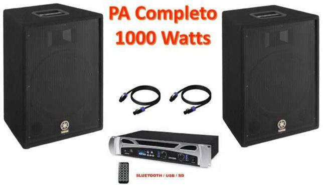 SISTEMA SOM 1000 WATTS - Amplificador e Colunas