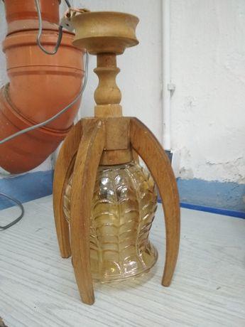 Lampa wisząca drewniana PRL