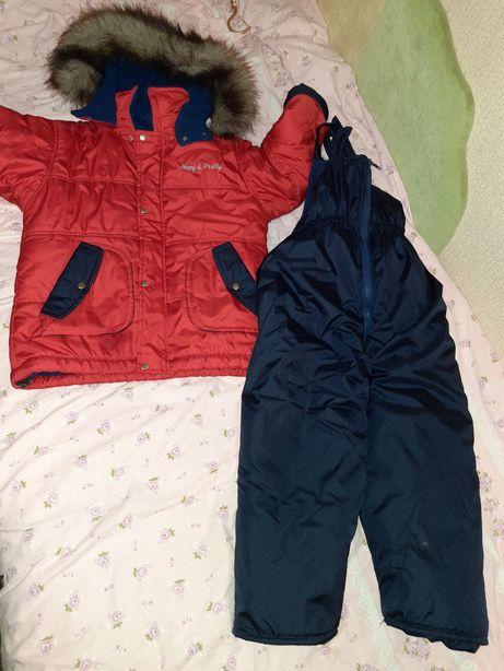 Продам зимнюю куртку с комбинезоном на рост 110