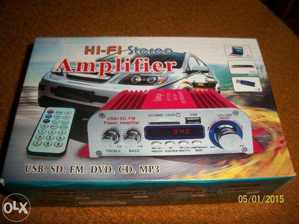 усилитель плеер радио 2 канала (4 кан.) микрофон дисплей USB/TF card