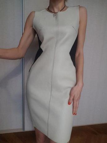 Платье экокожа шкіряними вставками сукня