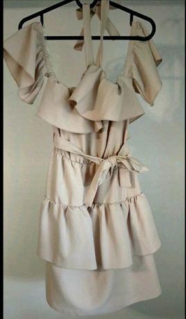 Sukienka S kolor beżowy