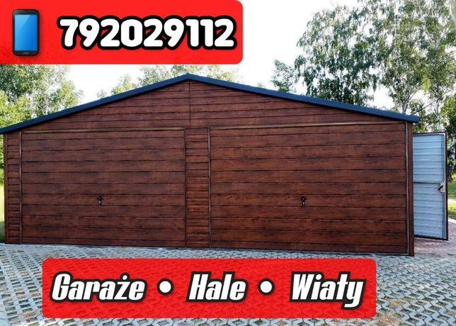 Garaż 6x6 Ciemny dąb imitacja drewna Hala Wiata