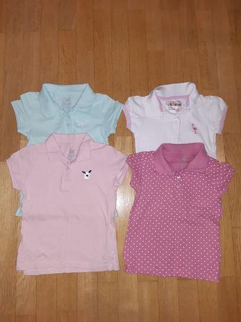 Zestaw bluzek dziewczęcych z krótkim rękawem, r. 104, 98-104