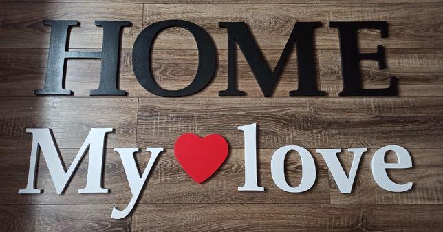 Napis HOME My love na ścianę, przyklejany, duży, malowany.
