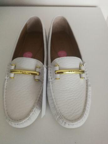 Ralph Lauren nowe mokasyny 37 38 białe skórzane buty