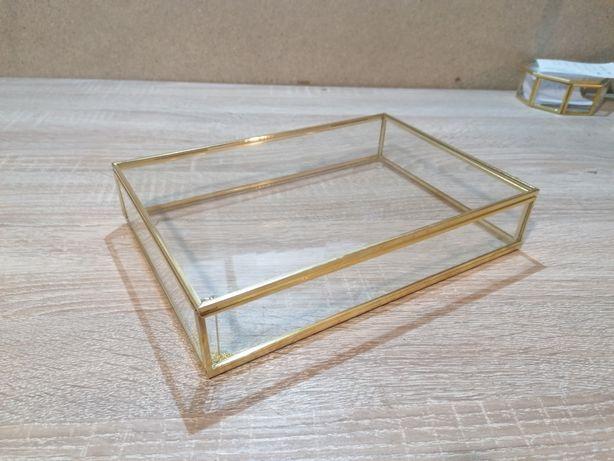 Pudełko szklane złote norweski styl przezroczyste glamour organizer