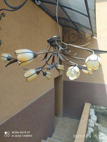 Люстра стальна на 10 лампочок
