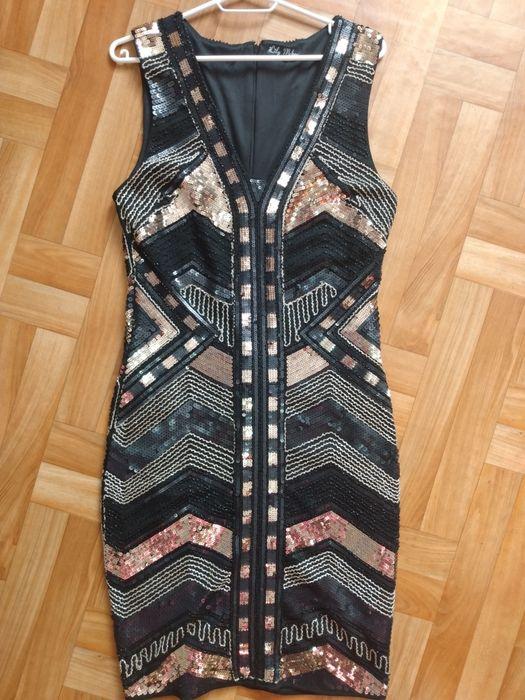Nowa sukienka cekinowa czarno-zlota Mleczkowo - image 1