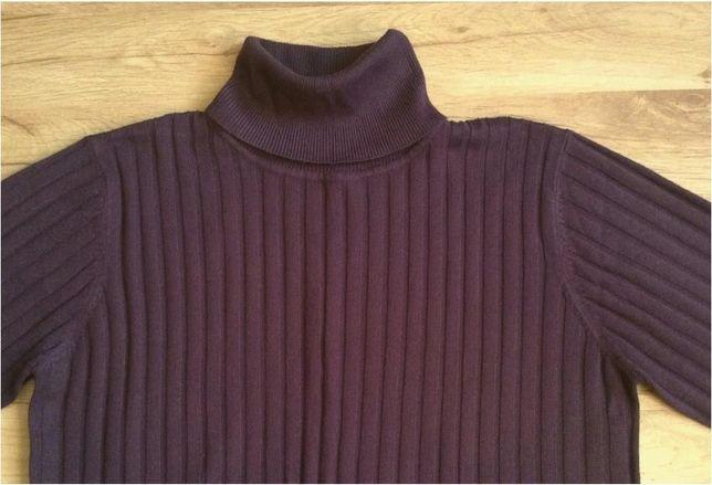 Ładny, jagodowy sweter - golf - rozm. XL