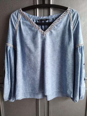 Zara bluzka koszula lniana XS NOWA haftowana na rękawach