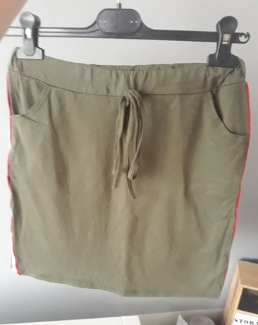 spódniczka dresowa khaki lampas zielona