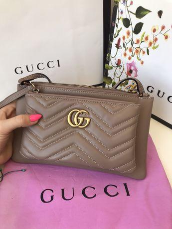 Gucci marmont torebka listonoszka kosmetyczka 2w1 skóra od ręki