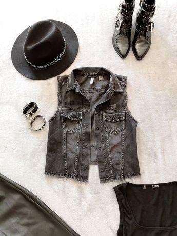 Kamizelka Damska Jeansowa H&M Jeans Szara Przetarcia Nowa Rock 36 S