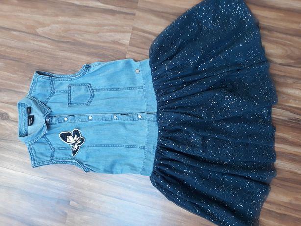 sukienka jeans- tiulowa rozm 134