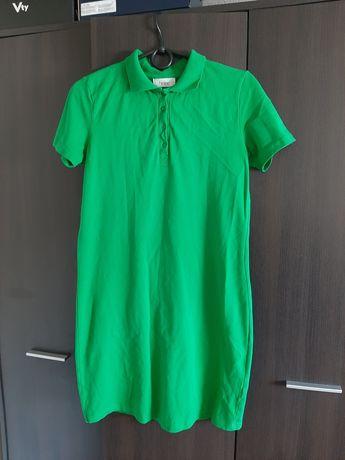 Zielona sukienka polo z kołnierzykiem