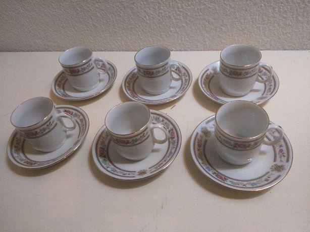 Retro Vintage Serviço Café 6 pax Porcelana Chinesa