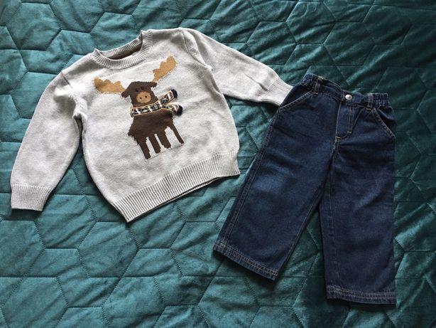 Zestaw sweterek renifer jeansy 86