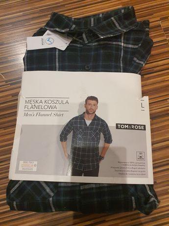 Męska koszula flanelowa krata rozm.L nowa.