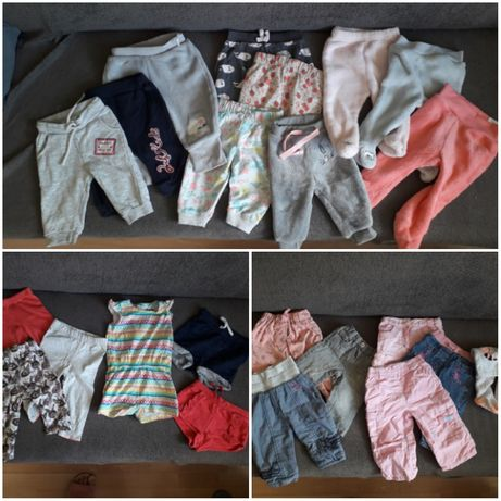 Spodnie, leginsy, spodenki, kombinezon letni dla dziewczynki rozm. 68