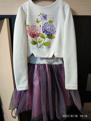 Нарядный костюм двойка (юбка, кофта) на рост 134