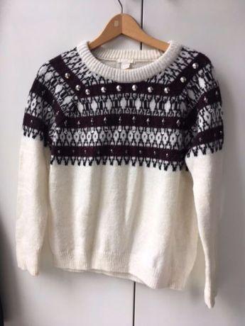 Sweter z domieszką wełny alpaki rozmiar S H&M wzór wełniany kryształki