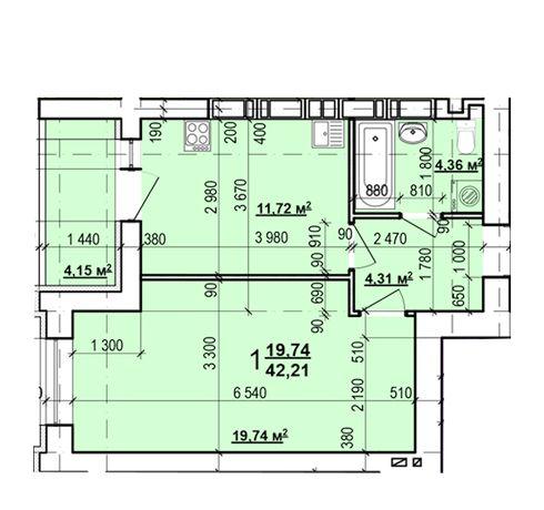 22500$ ЖК Мира-3! Продам 1 ком квартиру 42 м² в новострое C
