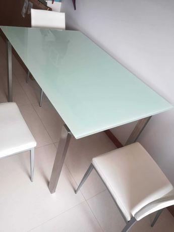 Mesa cozinha/sala em vidro fosco temperado e pernas em aço escovado
