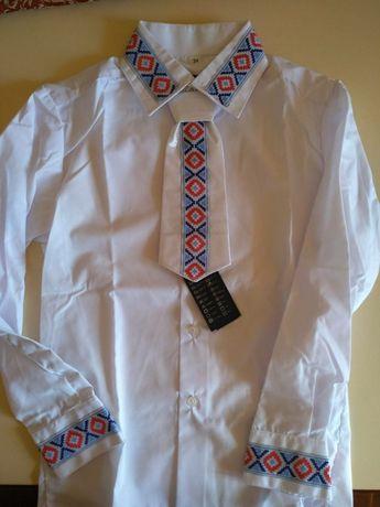 Вышиванка- рубашка с галстуком, разм. 33, 34, 35, 36, 37, 38 НОВАЯ