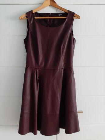 Sukienka Reserved sztuczna skóra bordowa rozmiar 36 (S)