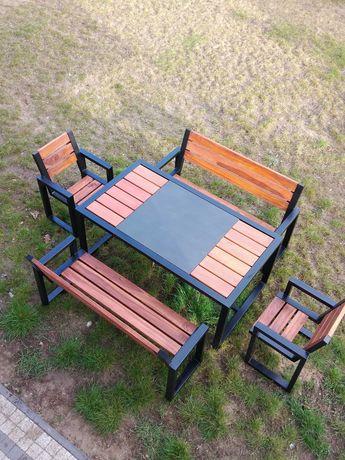 Zestaw mebli ogrodowych drewno dębowe, metal, spiek kwarcowy