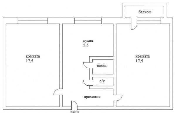 2х комнатная квартира на Ицхака Рабина, Черемушки