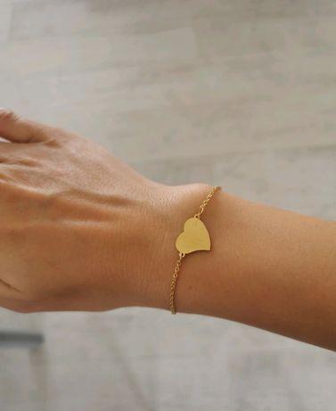 Nowa bransoletka kolor złoty serce serduszko stal nierdzewna