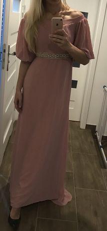 Suknia tfnc pudrowy róż, 38 M, studniówka wesele