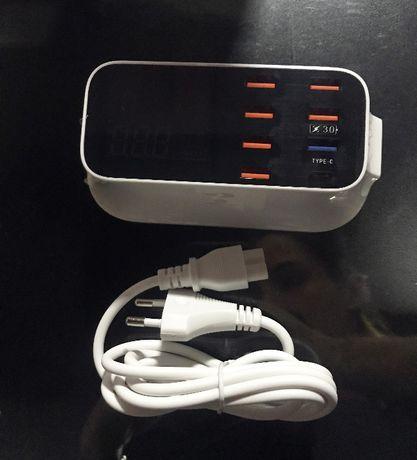 Estação de carregamento USB 8 portas com leitor de voltagem - HUB USB