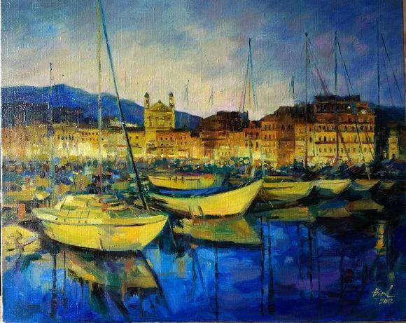 "Картина маслом ""Корсика.Лодки"" Ю.Бирд,2012г"