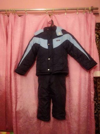 Зимний детский теплый костюм куртка и камбинезон