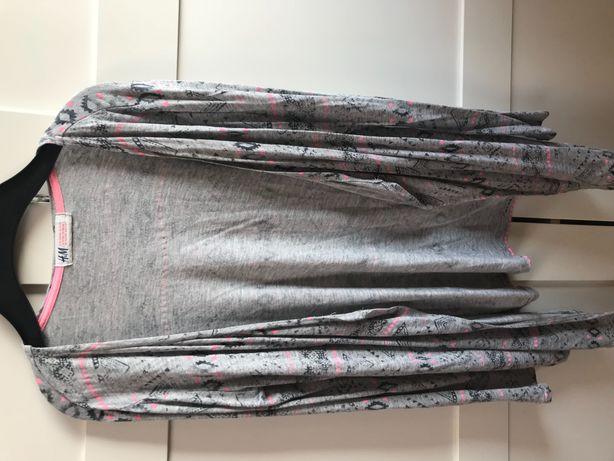 Lekki blezer w różowo- czarny wzorek H&M, r. 8-10 lat, 134/140