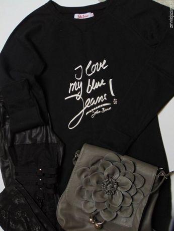 Czarna bluza tunika Bonprix John Baner z białym nadrukiem jak NOWA