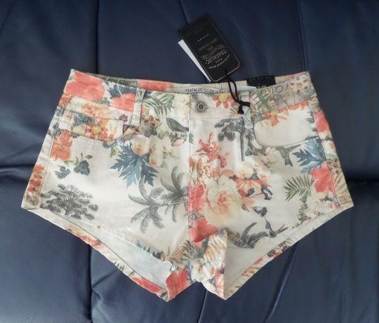 ZARA krótkie spodenki jeansowe w kwiatki kwiaty S 36 sklep 129 zł