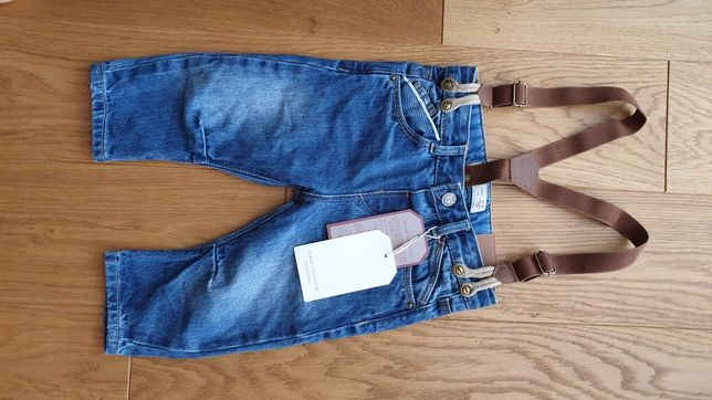 Spodnie jeansowe Zara na szelkach nowe rozm 74
