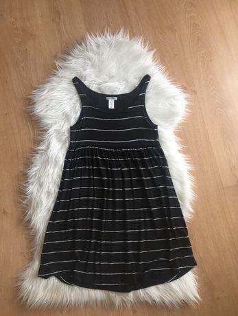 Czarna sukienka w paski H&M 34 36 XS S