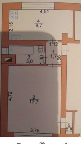 Продам 1 кімнатну квартиру з автономним опаленням